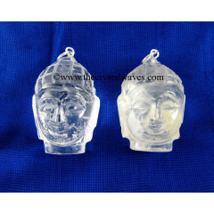 Crystal Quartz Buddha Head Pendant