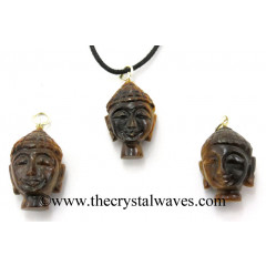 Tiger Eye Agate Buddha Head Pendant