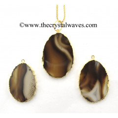Dendrite / Grey Khayaldar Agate Flat Egg Shaped Oval Gold Electroplated Pendants