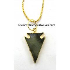 Labradorite Flat Arrowhead Gold Electroplated Pendant