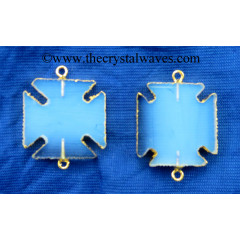 Opalite Square Viking's Cross Gold Electroplated Pendant