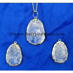 Crystal Quartz Handkanpped Egg Shape Gold Electroplated Pendant