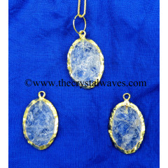 Crystal Quartz Handkanpped Oval Gold Electroplated Pendant