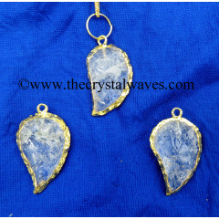 Crystal Quartz Handkanpped Mango Shape Gold Electroplated Pendant