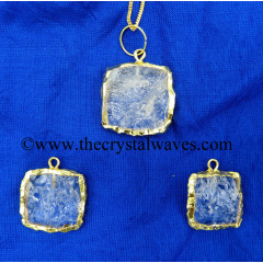 Crystal Quartz Handkanpped Square Gold Electroplated Pendant