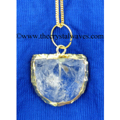 Crystal Quartz Handkanpped D Shape Gold Electroplated Pendant