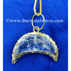 Crystal Quartz Handkanpped Crecent Moon Gold Electroplated Pendant