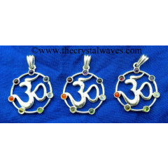 Om In Circle Chakra Metal Pendant