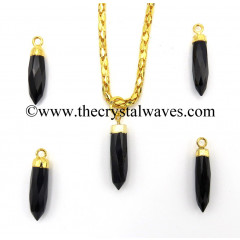 Black Onyx Chalcedony Small Bullet Gold Electroplated Pendant
