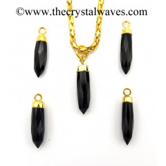 Black Agate Small Bullet Gold Electroplated Pendant