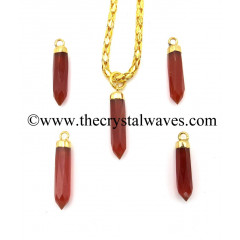 Red Onyx Chalcedony Small Bullet Gold Electroplated Pendant