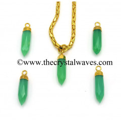 Chrysoprase C.D. Chalcedony Small Bullet Gold Electroplated Pendant