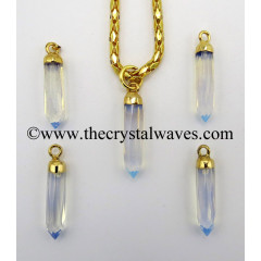 Opalite Small Bullet Gold Electroplated Pendant