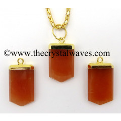 Red Aventurine Small Flat Pencil Gold Electroplated Pendant