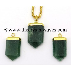 Green Aventurine (Dark) Small Flat Pencil Gold Electroplated Pendant