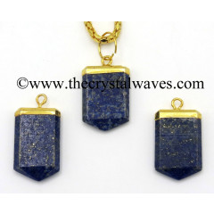 Lapis Lazuli Small Flat Pencil Gold Electroplated Pendant