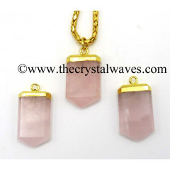 Rose Quartz Small Flat Pencil Gold Electroplated Pendant