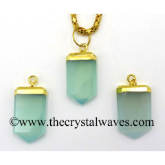 Aqua Chalcedony / Onyx Small Flat Pencil Gold Electroplated Pendant
