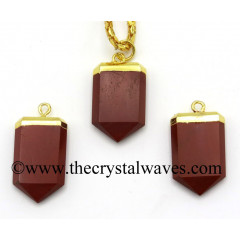 Red Jasper Small Flat Pencil Gold Electroplated Pendant