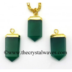 Green Chalcedony / Onyx Small Flat Pencil Gold Electroplated Pendant
