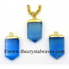 Blue Chalcedony / Onyx Small Flat Pencil Gold Electroplated Pendant