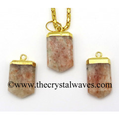 Sunstone Small Flat Pencil Gold Electroplated Pendant