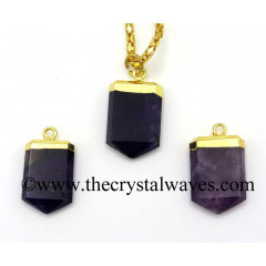 Amethyst Small Flat Pencil Gold Electroplated Pendant