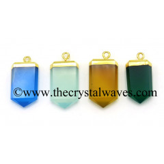 Mix Chalcedony / Onyx Small Flat Pencil Gold Electroplated Pendant