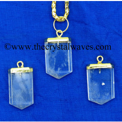 Crystal Quartz Small Flat Pencil Gold Electroplated Pendant