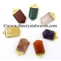 Mix Assorted Gemstones Small Flat Pencil Gold Electroplated Pendant