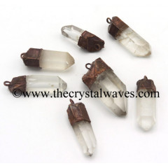 Crystal Quartz Copper Elctroplated Natural Pencil Pendant