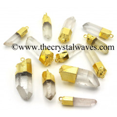 Crystal Quartz Gold Electroplated Natural Pencil Pendant