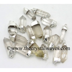 Crystal Quartz Silver Electroplated Natural Pencil Pendant