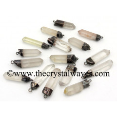 Crystal Quartz Black Rhodium Electroplated Natural Pencil Pendant