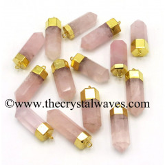 Rose Quartz Gold Electroplated Pencil Pendant
