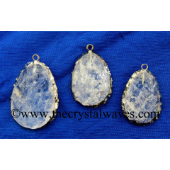 Crystal Quartz Handknapped Egg Shape Black Rhodium Electroplated Pendant