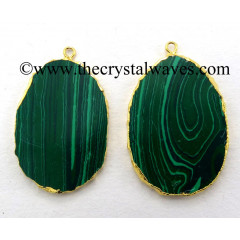 Malachite Manmade Flat Egg Shaped Oval Gold Electroplated Pendants