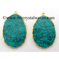 Tibetan Turquoise Manmade Flat Egg Shaped Oval Gold Electroplated Pendants