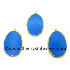 Turquoise Manmade Flat Egg Shaped Oval Gold Electroplated Pendants