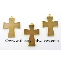 Yellow Aventurine Cross Gold Electroplated Pendant