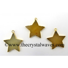 Yellow Aventurine Star Gold Electroplated Pendant