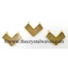Yellow Aventurine Chevron Shape Gold Electroplated Pendant