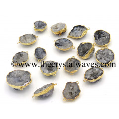 Geode Bowls Gold Electroplated Connector Pendants