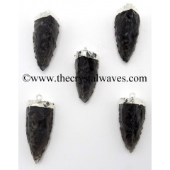 Black Obsidian 3 Side Handknapped Tooth Silver Electroplated Pendant