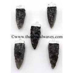 Black Obsidian 4 Side Handknapped Tooth Silver Electroplated Pendant