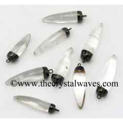 Crystal Quartz Small Tooth Shape Black Rhodium Electroplated Pendant