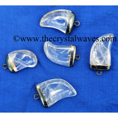 Crystal Quartz Nail Shape Black Rhodium Electroplated Pendant