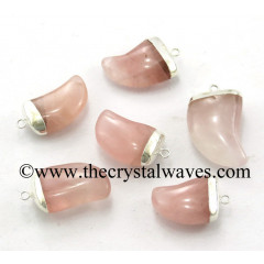 Rose Quartz Small Tooth Shape Silver Electroplated Pendant