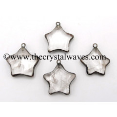 Crystal Quartz Star Black Rhodium Electroplated Pendant