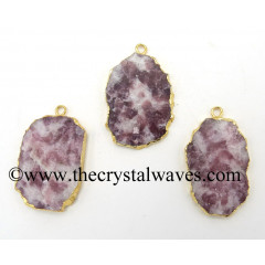 Lepidolite Flat Nugget Gold Electroplated Pendant